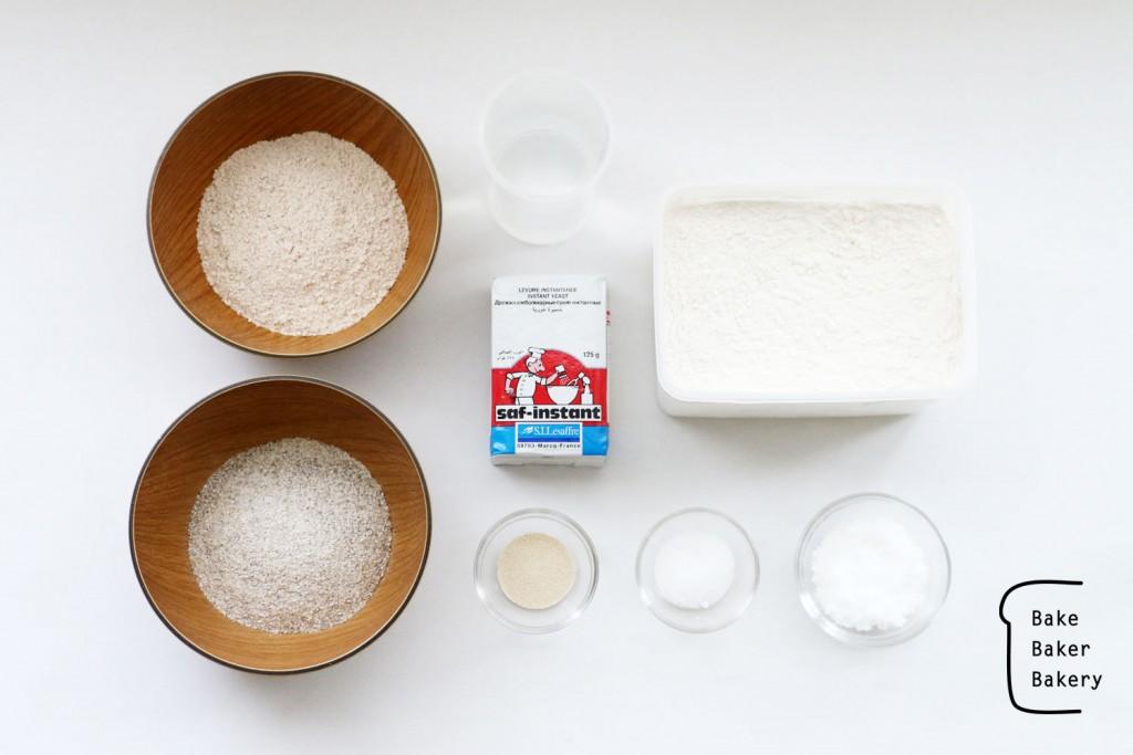 全粒粉ベーグル の材料